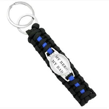 Load image into Gallery viewer, Back The Blue (Black)  - Thin Blue Line Cobra Weave Para-cord Key Ring  - Kwikibuy Amazon Global