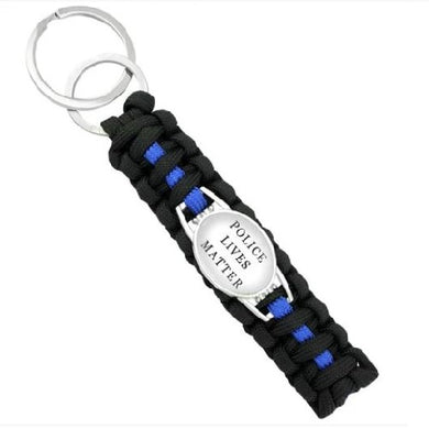 Police Lives Matter (White)  - Thin Blue Line Cobra Weave Para-cord Key Ring  - Kwikibuy Amazon Global