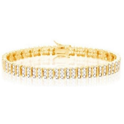 Three Row Diamond Accent Tennis Bracelet (Yellow) - Kwikibuy.com Official Site©