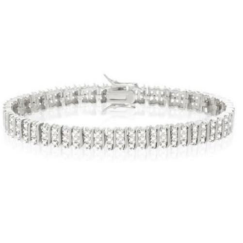 Three Row Diamond Accent Tennis Bracelet (Silver) - Kwikibuy.com Official Site©