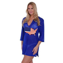Load image into Gallery viewer, USA Continent Flag (Blue Long Sleeve) Tank Dress Swimwear Cover-up  - Kwikibuy Amazon Global