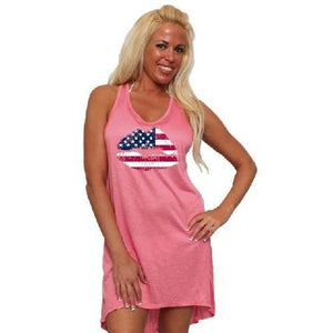 USA Lips Flag (Black) Tank Dress Swimwear Cover-up  - Kwikibuy Amazon Global
