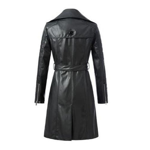 3/4-Length-Leather-Coat-with-Belt  - Kwikibuy Amazon Global
