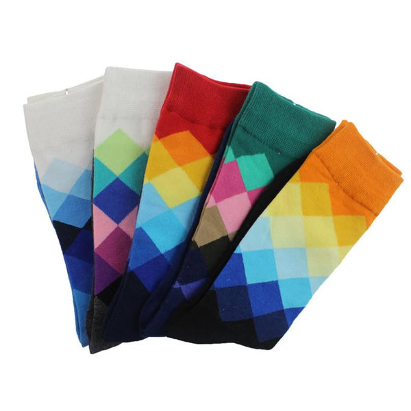 5pair/pack Men's socks British Style Plaid Gradient Color $11 - Kwikibuy.com™® Official Site~Free Shipping