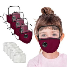 Load image into Gallery viewer, 4 Reusable Filter Mask with Detachable Eyes Shield (4 Colors)  - Kwikibuy Amazon Global FREE Shipping: 5-7 days UPS Material: Cotton (Washable) Size: Children