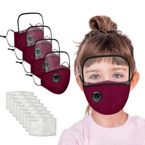 4 Reusable Filter Mask with Detachable Eyes Shield (4 Colors)  - Kwikibuy Amazon Global FREE Shipping: 5-7 days UPS Material: Cotton (Washable) Size: Children