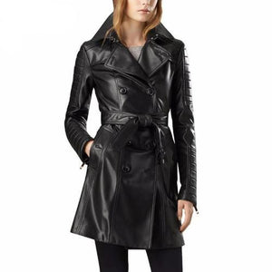 3/4 Length Leather Coat with Belt  - Kwikibuy Amazon Global