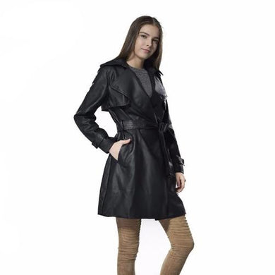 3/4 Length Cape Leather Coat with Belt  - Kwikibuy Amazon Global