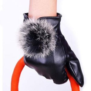 Black Leather Rabbit Fur Ball Gloves  - S Hop'S mall Gloves Length: Wrist Material: Leather (manufactured) Style: Fashion Item Type: Gloves