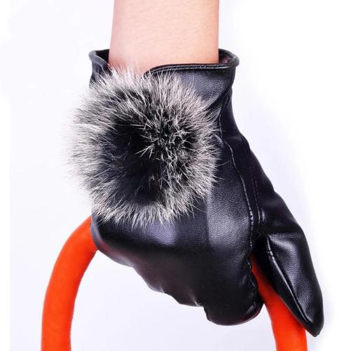 Black Leather Rabbit Fur Ball Gloves  - Kwikibuy Amazon Global