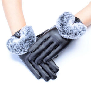 Leather-and-Rabbit-Waterproof-Gloves-Purple  - Kwikibuy Amazon Global