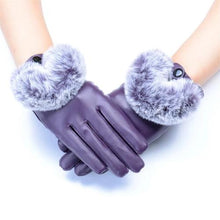 Load image into Gallery viewer, Leather-and-Rabbit-Waterproof-Gloves-Purple  - Kwikibuy Amazon Global
