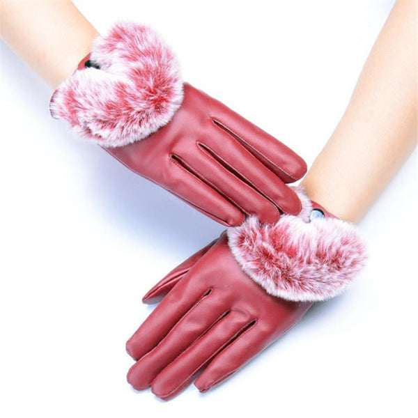Leather & Rabbit Waterproof Gloves (Red) | Kwikibuy Amazon | United States | All | Women | Outerwear | Gloves | Mittens | Autumn | Winter | Spring