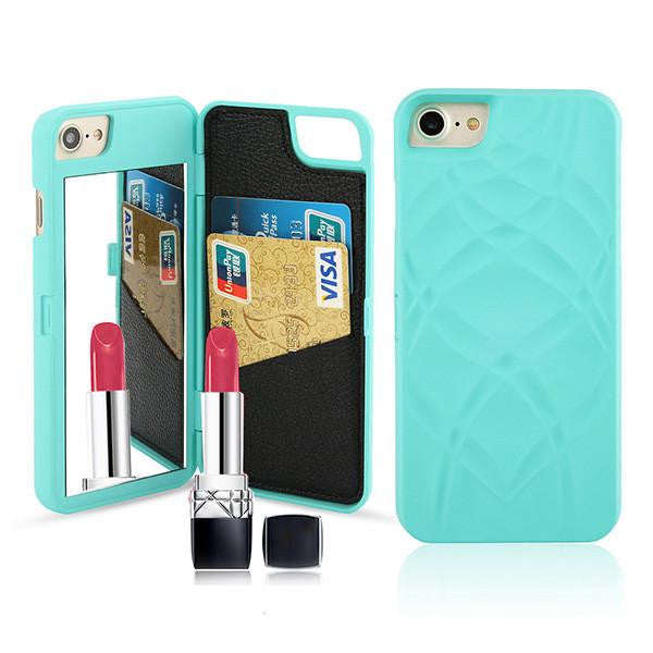 Luxury Mirror Wallet Flip iPhone 3D Makeup Card Slot Phone Case (Green) | Kwikibuy Amazon | United States | All | Women | iPhone | Case | Mirror | Vanity | Card Slot | Credit | Debit