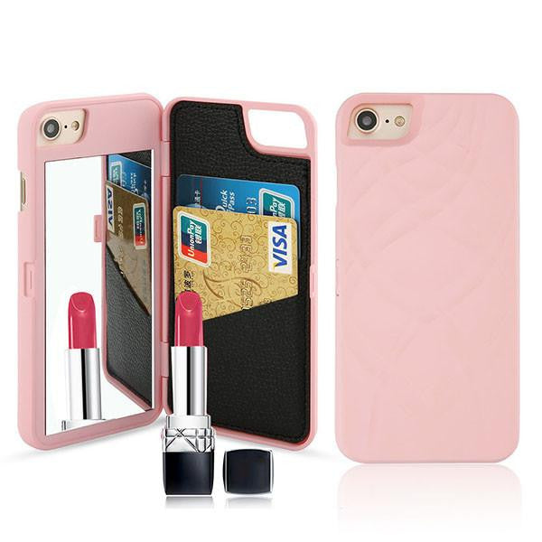 Luxury Mirror Wallet Flip iPhone 3D Makeup Card Slot Phone Case (Pink) | Kwikibuy Amazon | United States | All | Women | iPhone | Case | Mirror | Vanity | Card Slot | Credit | Debit