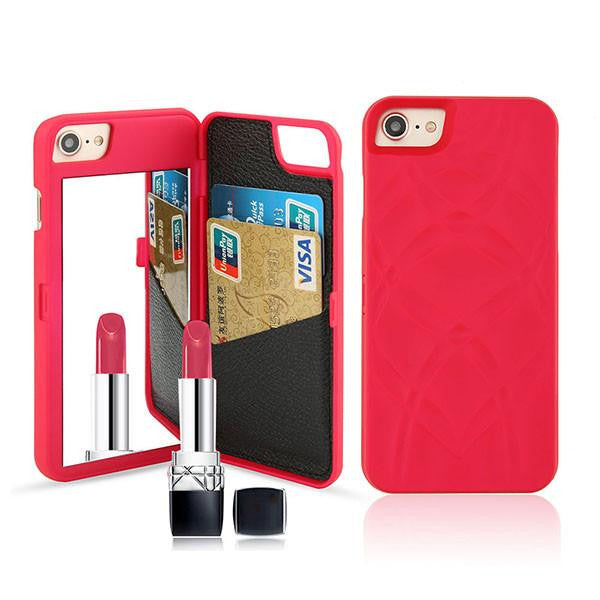 Luxury Mirror Wallet Flip iPhone 3D Makeup Card Slot Phone Case (Red 2) | Kwikibuy Amazon | United States | All | Women | iPhone | Case | Mirror | Vanity | Card Slot | Credit | Debit