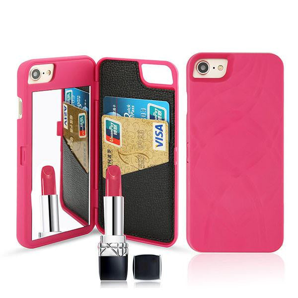 Luxury Mirror Wallet Flip iPhone 3D Makeup Card Slot Phone Case (Rose Red) | Kwikibuy Amazon | United States | All | Women | iPhone | Case | Mirror | Vanity | Card Slot | Credit | Debit