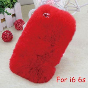 iPhone Soft Fluffy Plush Rabbit Fur Back Cover (6 Sizes - 10 Colors)
