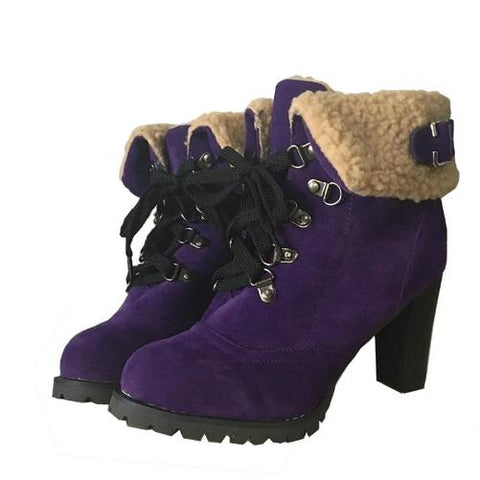 Women's High Heel Snow Boots $34 (Purple Fur) - Kwikibuy.com™® Official Site