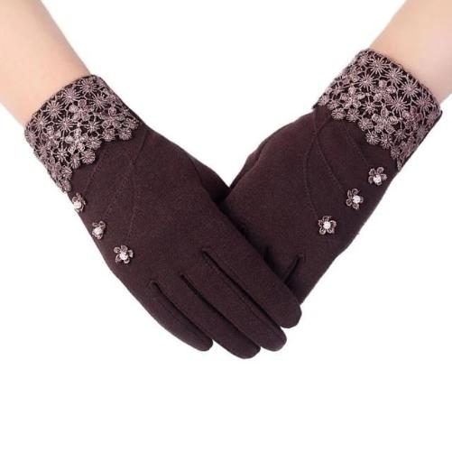 High Quality Fashion Lace Warm Gloves (Coffee) | Kwikibuy Amazon | United States | All | Women | Outerwear | Gloves | Mittens | Autumn | Winter | iPhone