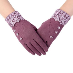 High-Quality-Fashion-Lace-Warm-Gloves-Pink  - Kwikibuy Amazon Global