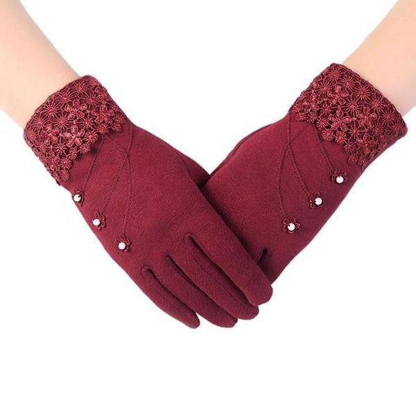 High Quality Fashion Lace Warm Gloves (Red) | Kwikibuy Amazon | United States | All | Women | Outerwear | Gloves | Mittens | Autumn | Winter | iPhone