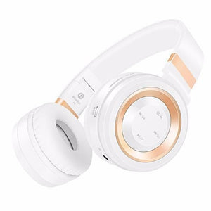 Wireless Bluetooth Headphones with Mic (White & Silver)  - Kwikibuy Amazon Global
