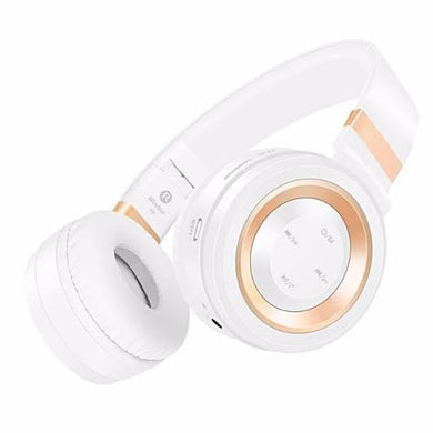White and Gold Bluetooth Headphones with Mic (5 Colors)  - Kwikibuy Amazon Global