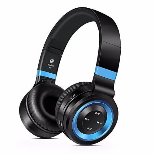 Wireless Bluetooth Headphones with Mic (Black & Blue)  - Kwikibuy Amazon Global