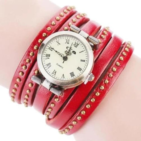 Vintage Leather Bracelet Quartz Wristwatch (Red) - Kwikibuy.com Official Site©