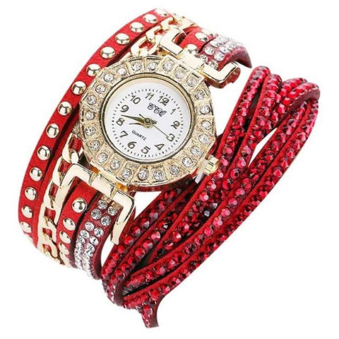 Vintage Luxury Leather Bracelet Quartz Wristwatch (Red) - Kwikibuy.com Official Site©