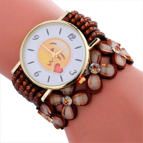 Cute Emoji Crystal Leather Brown Watch (Blowing a Kiss)  - Kwikibuy Amazon Global