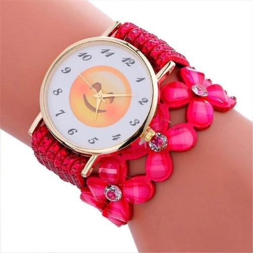 Cute-Emoji-Crystal-Leather-Watch-Red-Smiling-Face-With-Heart-Eyes  - Kwikibuy Amazon Global