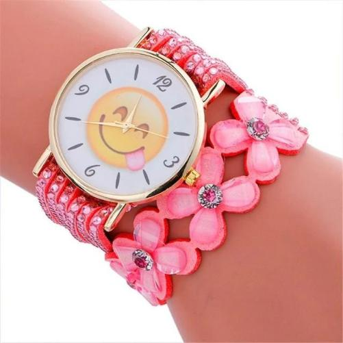 Cute Emoji Crystal Leather Pink  Watch (Face Savoring Food)  - Kwikibuy Amazon Global