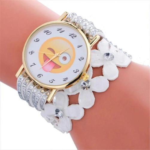 Cute Emoji Crystal Leather White Watch (Winking Face With Tongue)  - Kwikibuy Amazon Global