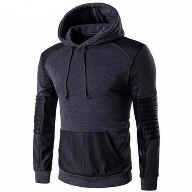 Leather Stitching Sweatshirt Hoody (Dark Grey)  - Kwikibuy Amazon Global