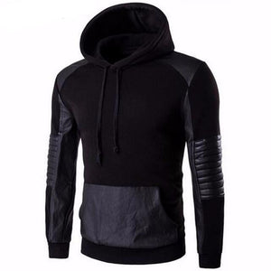 Leather Stitching Sweatshirt Hoody (Black)  - Kwikibuy Amazon Global