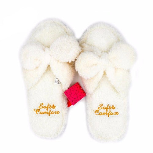 Fluffy-White-Plush-House-Shoes  - Kwikibuy Amazon Global