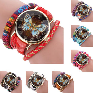 Vintage Butterfly Leather Bracelet Quartz Wristwatch  - Kwikibuy Amazon Global