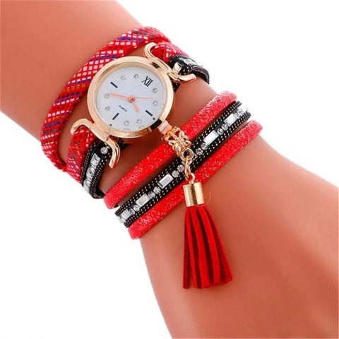 Vintage Pendant Leather Bracelet Quartz Wristwatch (Red) - Kwikibuy.com Official Site©
