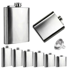 Load image into Gallery viewer, 👻 Stainless Steel Hip Flask and Funnel (6 Sizes)  - Kwikibuy Amazon Global Online S Hopping Mall 6 Sizes: 4, 5, 6, 7, 8 or 10 oz Stainless Steel Hip Flask