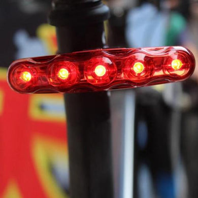 Waterproof 5 LED 3-Mode Bike Safety Tail-Light  - Kwikibuy Amazon Global