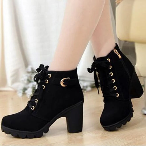 Comfortable Soft Leather Platform Heel Boots (Black)  - Kwikibuy Amazon Global