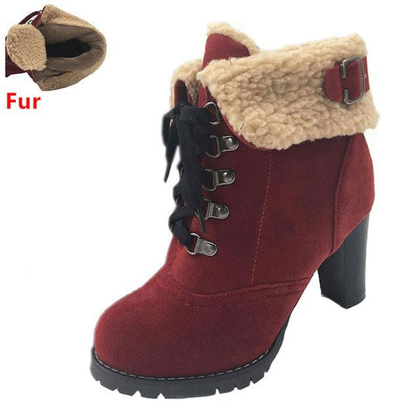 Women's High Heel Snow Boots (Red w/Fur) | Kwikibuy Amazon | United States | All | Women | Fashion | Clothing | Boots | Shoes
