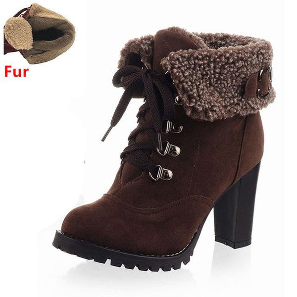 Women's High Heel Snow Boots (Brown w/Fur) | Kwikibuy Amazon | United States | All | Women | Fashion | Clothing | Boots | Shoes