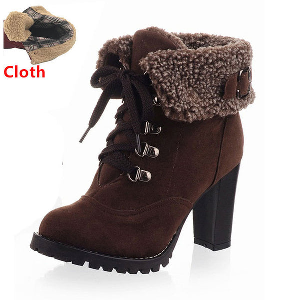 Women's High Heel Snow Boots (Brown w/Cloth) | Kwikibuy Amazon | United States | All | Women | Fashion | Clothing | Boots | Shoes
