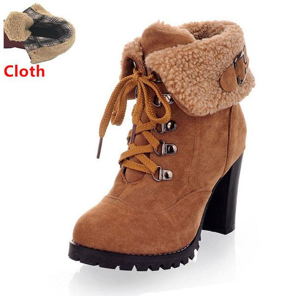 Women's High Heel Snow Boots (Yellow w/Cloth) | Kwikibuy Amazon | United States | All | Women | Fashion | Clothing | Boots | Shoes