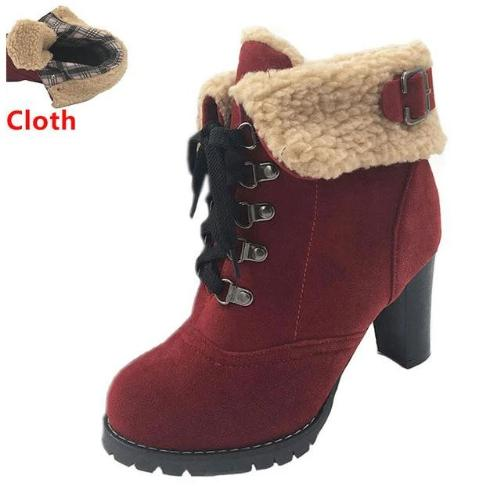 Women's High Heel Snow Boots (Red w/Cloth) | Kwikibuy Amazon | United States | All | Women | Fashion | Clothing | Boots | Shoes