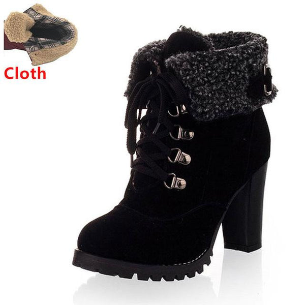 Women's High Heel Snow Boots (Black w/Cloth) | Kwikibuy Amazon | United States | All | Women | Fashion | Clothing | Boots | Shoes