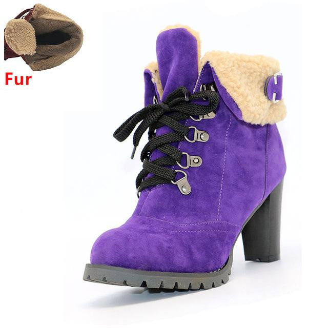 Women's High Heel Snow Boots (Purple w/Fur) | Kwikibuy Amazon | United States | All | Women | Fashion | Clothing | Boots | Shoes